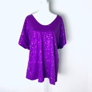 Lane Bryant purple sequined top blouse size 26/28